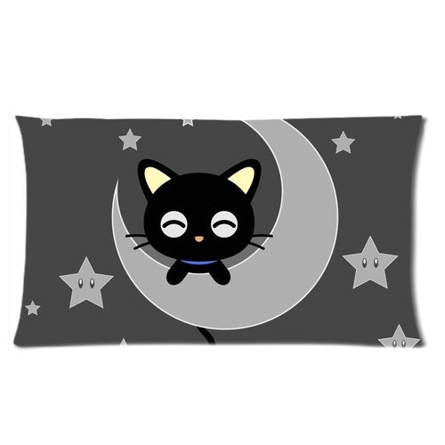 [Cute Cartoon Chococat Kawaii Black Cat Baby On the Moon Custom King Size Pillowcase DIY Pillowslips Roomy in Size 20 * 36] (Cute Halloween Pictures Of Cats)