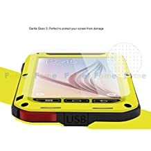 FOME Samsung Galaxy S6 Case, Extreme Hard Military Heavy Aluminum Metal Armor Tank Gorilla Glass Shockproof Rainproof Water Resistant Weatherproof Dust/Dirt/Snow Proof Anti-smudge Resistant Acoustic Port Protection Cover Case For Samsung Galaxy S6 (Yellow) + FOME Gift