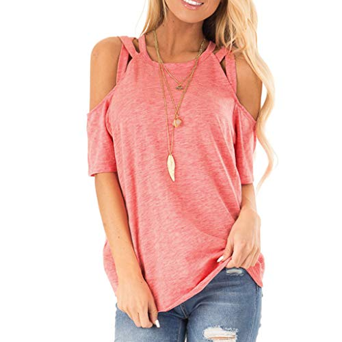 Witspace Womens Casual Off Should Tops Short Sleeve Knot Shirts Tank Tops Pink ()