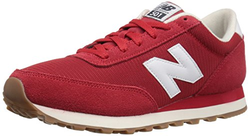 New Balance Mens 501 Running Classics Suede Trainers Red White