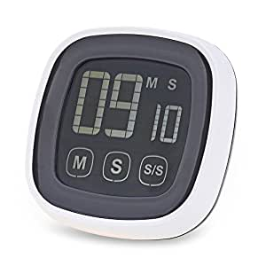 Magicook TS-BN54 Digital Kitchen Timer Big Digits with Magnet, Loud Alarm Plastic Touch Screen LED Backlight Digital Countdown Timer, Stand
