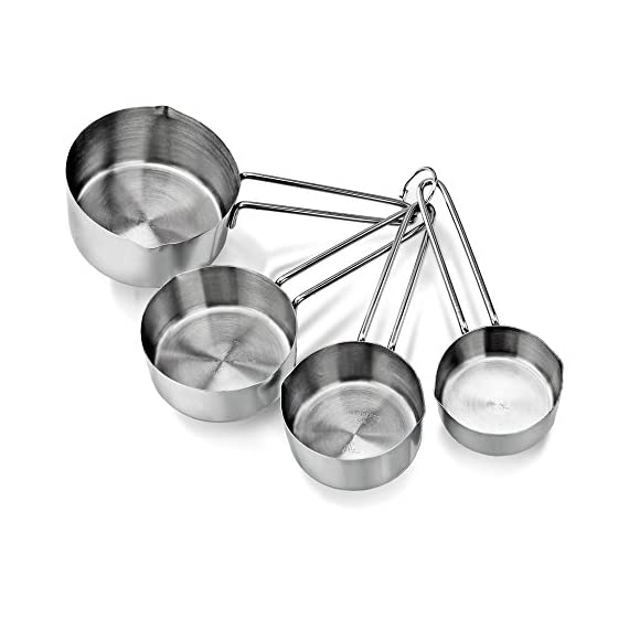New Star Foodservice | Measuring Cup & Spoons Sets 2 Stainless steel measuring cups and spoons set Measuring cups: 1 cup, 1/2 cup, 1/3 cup, and 1/4 cup Measuring spoons: 1 tbsp., 1 tsp, 1/2 tsp, 1/4 tsp