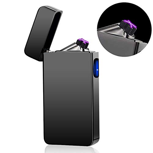 (Dual Arc Plasma Lighter USB Rechargeable Windproof Flameless Butane Free Electric Lighter for Cigar,Candle (Black))