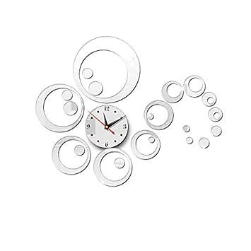 BB.er Círculo Espejo Pegatinas Pared Reloj de Pared DIY 3D Reloj Digital acrílico Decorativo Tridimensional, 66 × 66cm: Amazon.es: Hogar