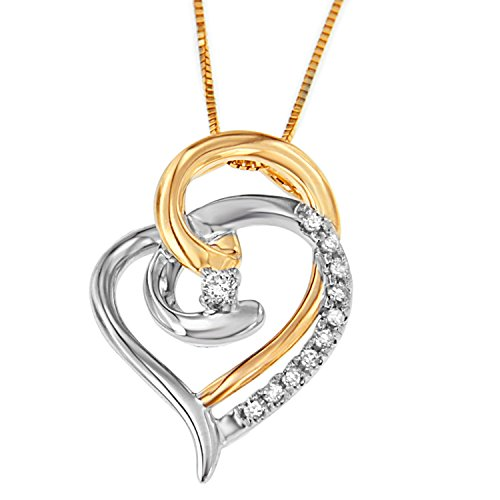 Espira 10K Two-Tone Gold Diamond Love is All Around Pendant Necklace (1/10 cttw, J-K Color, I2-I3 Clarity)
