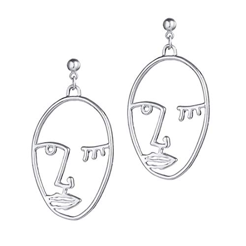 - Human Face Dangle Earrings Drop Hoops Studs Cuffs Ear Wrap Pin Vine Dangling Hollow Out Charms Jewelry Silver Style 1