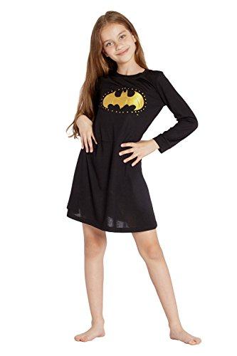 (Batgirl DC Comics 'Batman Logo Star' Halloween Costume Pajama Nightgown Sleepshirt, Black,)