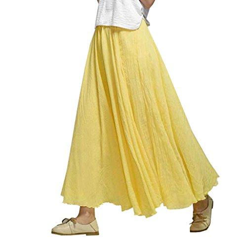 Coton Taille Jaune Jupe Long 2018 Maxi Lin OMSLIFE lastique Bohme de Style Bande Femmes Hx1wqTR
