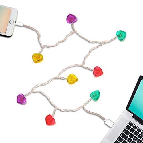 dci candy heart led lights glow in the dark usb and charging cable 46 inch compatible with iphone 5 5s 6 6 plus 7 7 plus 8 models