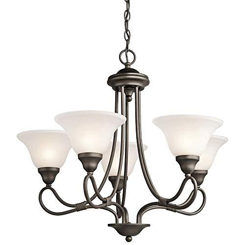 Kichler Lighting 2557OZ Stafford - Five Light Chandelier, Olde Bronze Finish with White French Scavo Glass ()