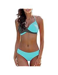 Conjunto de Bikini para Mujer, Brasier Push-up Acolchado, Traje de baño, Traje de baño, Ropa de Playa