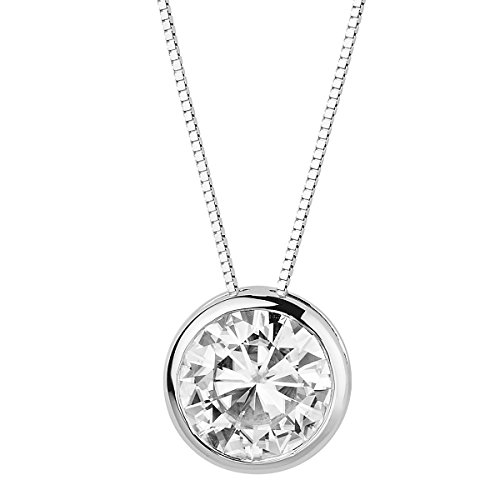 Bezel Round Moissanite Pendant - Forever Brilliant White Gold Round 9.0mm Moissanite Pendant Necklace, 2.70ct DEW By Charles & Colvard