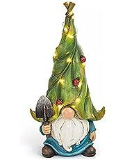 ZYLE 1pc Resin With Solar Led Light Garden Dwarf Statue Decoration Gnome Solar Waterproof Yards Patios Decoration Lighting