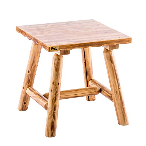 Wood Heavy Duty Log End Table Patio Side Table Outdoor Bistro Table for Porch Backyard