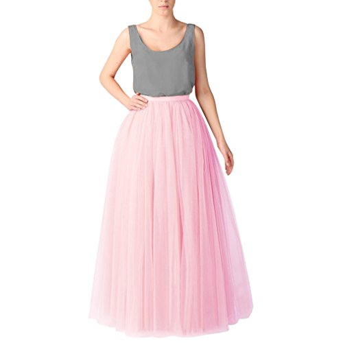 CoutureBridal Jupe Tutu Femme Longue 6 Couches Elastic Ceinture Princesse Tulle 110cm Pink