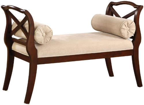[Furniture of America Paracas Romantic Accent Bench, Dark Cherry] (Arms Wood Benches)