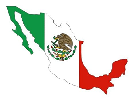 Mexico country shape map flag sticker decal