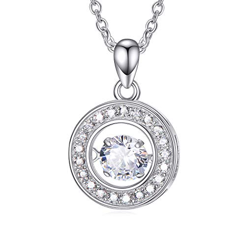 Sterling Silver Cubic Zirconia Circle Pendant Necklace, CZ Dancing Necklaces for Women, (Dancing Lady Pendant)