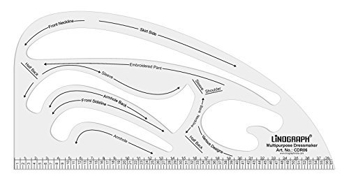 Linograph Multipurpose Dressmaker Sleeve Neckline Armhole Acrylic Ruler by LINOGRAPH