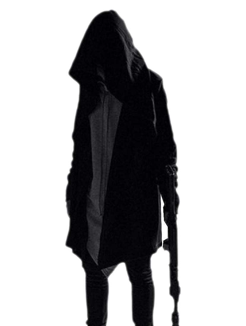 Fieer Men's Trench Coat Leisure Mid Wrap Hooded Mantle Solid Jacket Coat