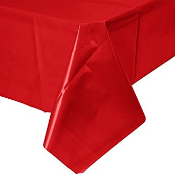 Creative Converting Touch of Color 54-Inch x 108-Inch Plastic Table Cover, Classic Red