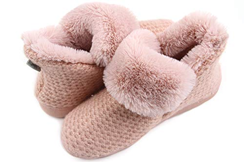 LongBay Women's Cozy Memory Foam Cable Knit Bootie Slippers Plush Faux Fur House Shoes Pink ()