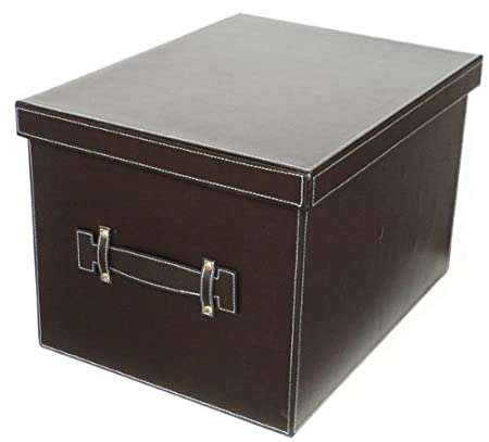 Storage Box with Lid Brown Leather Look  sc 1 st  Amazon UK & Storage Box with Lid Brown Leather Look: Amazon.co.uk: Kitchen u0026 Home