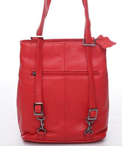 JOSYBAG sac à dos en cuir rouge/étui lisbonne rosenprägung shopper cuir