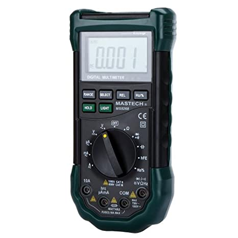 Mastech MS8268 Professional Digital Multimeter Meter Sound&Light Alarm Auto-range Resettable Fuse Capacitance Frequency Measurement LCD with backlight