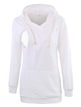 d84fee3b096ee Ecavus Womens Fleece Maternity Nursing Sweatshirt Hoodie Zip up Pullover  Breastfeeding Top with Pocket White