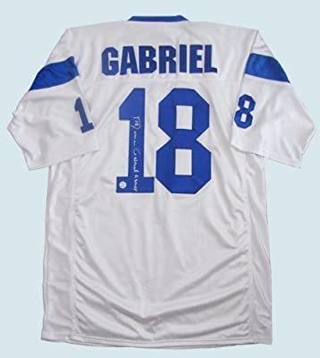 Roman Gabriel Signed White Jersey - Los Angeles Rams