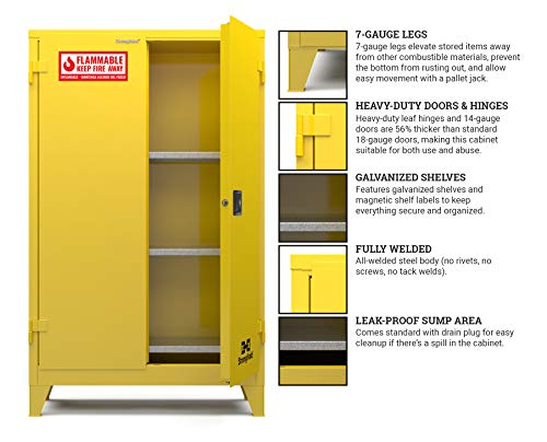 "(Strong Hold-Heavy-duty Doors and Hinges,3 Shelves, 6 Magnetic Shelf Labels, Heavy-Duty 6"" Legs, 15-Yr Warranty, Safety Cabinet-Flammable, 43""W x 18""D X 64.5""H, Manual Close, 45-Gallon, NFPA, CAB000017)"