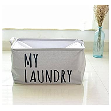 Yiuswoy Large Foldable Cotton Storage Bin Toy Storage Organizer Nursery Baskets Clothing Storage Containers For Nursery And Kids Room - Gray