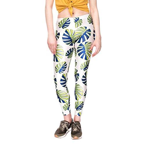Amincissant de Taille de Mode Fitness Haute Femme SANFASHION Habit Basique Legging Yoga Chic Feuilles Blanc Sport Pantalons 08Bw4q