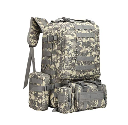 JIAN Taktischer Rucksack, Multifunktionaler MOLLE Kombinationsrucksack Wasserabweisender Camping Trekkingrucksack 45L,H-45L