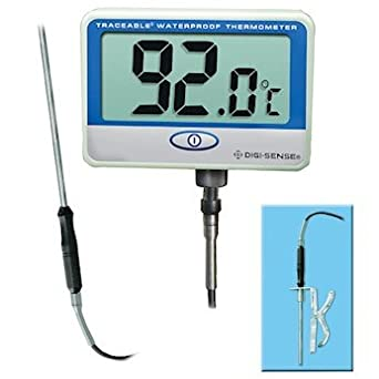 Digi-Sense Calibrated Remote Probe Digital Thermometer, Extra Long, Waterproof
