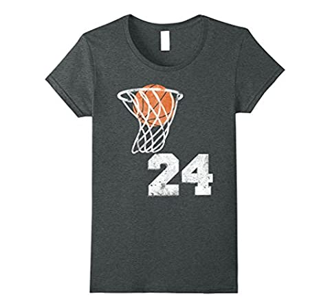 Womens Vintage Basketball Jersey Number 24 T-Shirt Player Number Large Dark Heather - Basketball Jerseys Heather