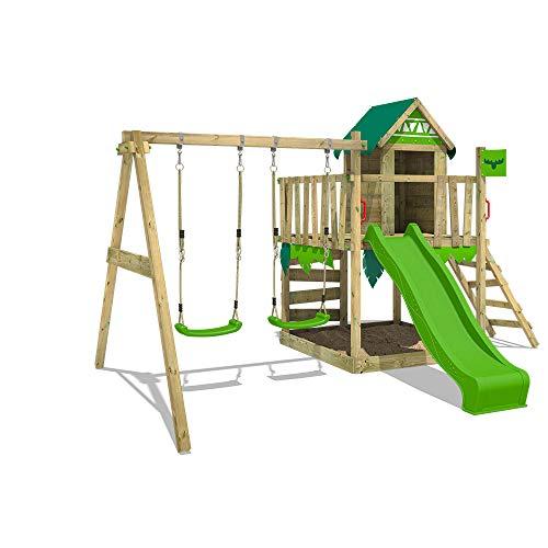 41LrbqW2jOL. SS500 Parque infantil con casita infantil en diseño tropical - Área de juegos da exterior Madera maciza impregnada a presión - Poste de columpio 9x9 cm - Calidad y seguridad aprobada Instrucciones de montaje detalladas - Varias opciones de montaje - Made in Germany