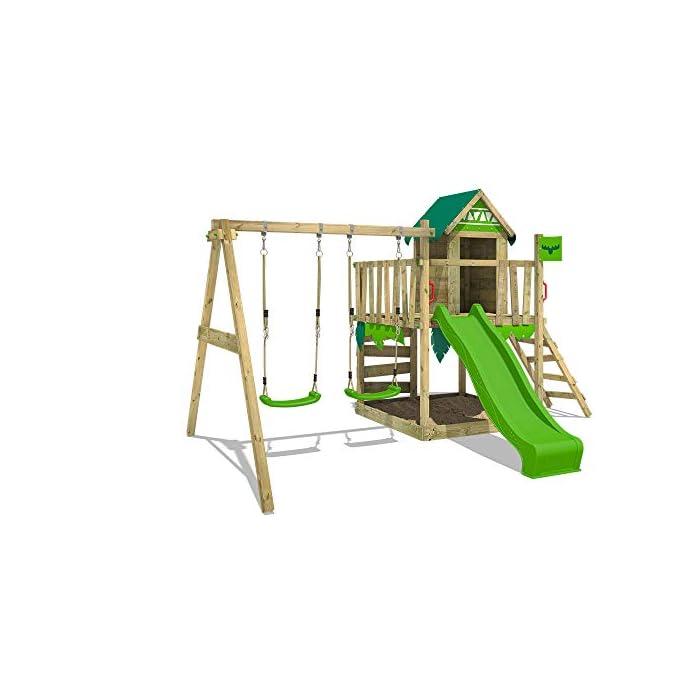 41LrbqW2jOL Parque infantil con casita infantil en diseño tropical - Área de juegos da exterior Madera maciza impregnada a presión - Poste de columpio 9x9 cm - Calidad y seguridad aprobada Instrucciones de montaje detalladas - Varias opciones de montaje - Made in Germany