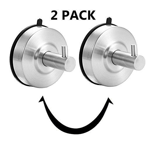 Heavy Duty Towel Hooks, Suction Cup Coat/Robe Clothes Hooks, 304 Stainless Steel Wall Hook Removable for Bathroom,Kitchen,Bedroom,Kitchen,Restroom,Hotel,Brushed Nickel and Wall Mounted (2 Pack silver)