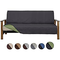 CALA Futon Sofa Slipcovers, Reversible Couch Slipcover Furniture Protector,Cover Perfect for Pets and Kids,Machine Washable(Futon:Black/Green)