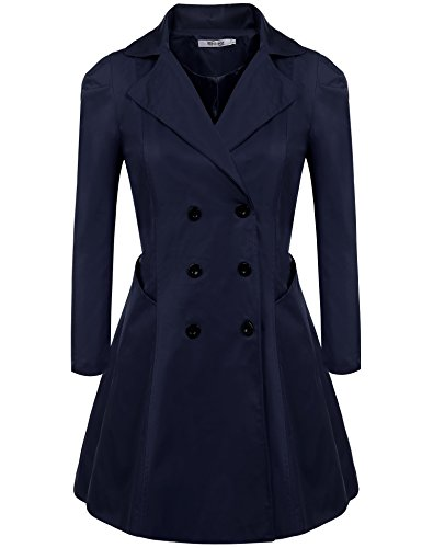 Meaneor Women's Plus Size Long Sleeve Lapel Collar Double-Breasted Trench Coat (L-4XL)