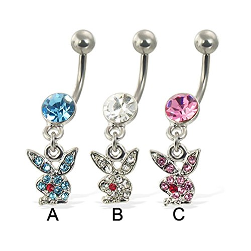 (MsPiercing Belly Button Ring With Dangling Jeweled Playboy Bunny, Pink - C)