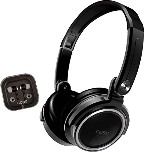 - Coby CVH-800-BLK 2-In-1 Jammerz Xtra Headphones and Earbuds with Case, Black