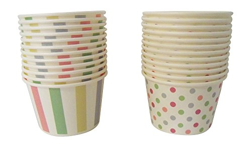 Pastel Dots - Paper Ice Cream Cups - Pastel Stripes & Polka Dots Design, 24 Count