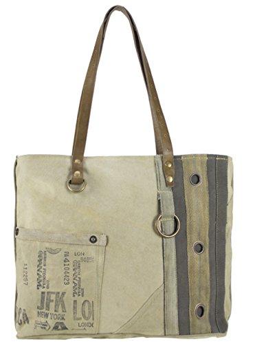 Bolso de compra señora Sunsa Vintage Bolso de hombro bolso de mano hecho de tela / tela con cuero 51684