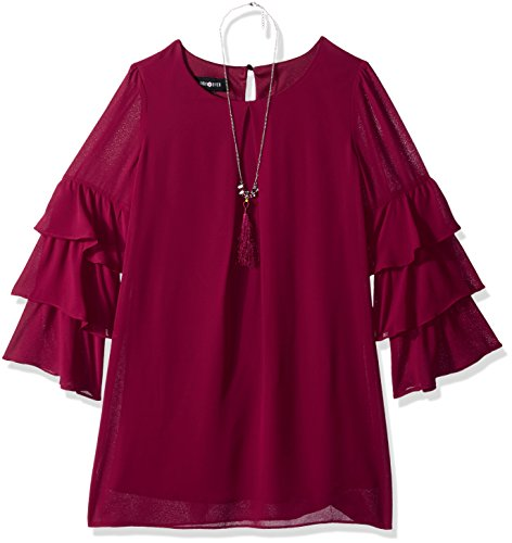 Amy Byer Big Girls' a-Line Dress with Tiered Bell Sleeves, Boho Plum, 8