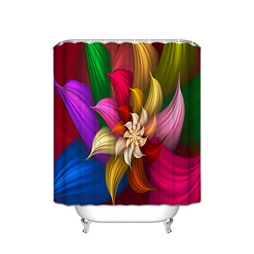 Flower Shower Giraffe Blue (Abstract Navy Blue Red Green Wavy Line Sun Flower Shower Curtain With Hooks (Treated To Resist Deterioration By Mildew) - 36 X 72 Inches)