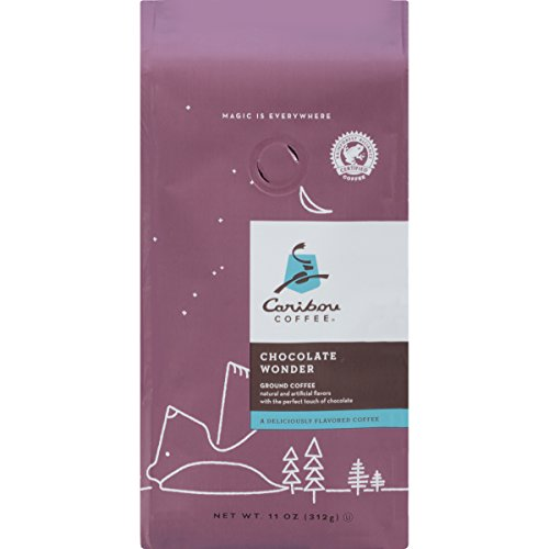 Caribou Coffee, Flavored Chocolate Wonder, Ground Coffee, 11 oz. Bag, Smooth & Lightly Sweet Chocolate Flavored Arabica Coffee, with Notes of Whipped Cream & Milk Chocolate; Sustainable Sourcing