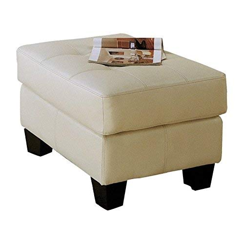Samuel Leather Ottoman Cream
